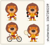 set of funny lion sportsman is... | Shutterstock .eps vector #1067280239