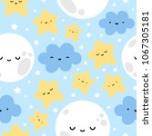 moon  cloud and stars cute... | Shutterstock .eps vector #1067305181