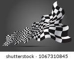 checkered flag wave 3d on gray...   Shutterstock .eps vector #1067310845