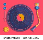 vinyl player in the style of... | Shutterstock .eps vector #1067312357