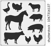 Stock vector farm animals vector silhouette set vector monochrome illustration 1067316137