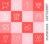 love line icons set. happy... | Shutterstock .eps vector #1067323007