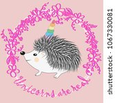 a cute cartoon hedgehog with a... | Shutterstock .eps vector #1067330081
