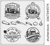 set of farmers market emblems ... | Shutterstock .eps vector #1067344574