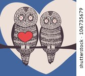 funny owl couple in love | Shutterstock .eps vector #106735679