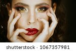 beauty woman with red lips and... | Shutterstock . vector #1067357981
