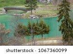 The lake of the mountain village of Bozel, Tarentaise, Vanoise, Rhone Alpes, Savoie, France