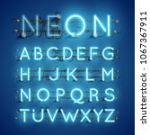 realistic neon font with wires... | Shutterstock .eps vector #1067367911
