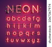 realistic neon font with wires... | Shutterstock .eps vector #1067367974