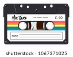 cassette with retro label as... | Shutterstock .eps vector #1067371025