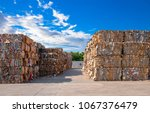 stack of paper waste before... | Shutterstock . vector #1067376479