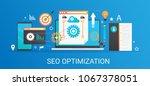flat modern vector concept seo...   Shutterstock .eps vector #1067378051