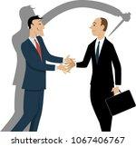 dishonest businessman shaking... | Shutterstock .eps vector #1067406767