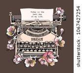 vintage typewriter machine with ... | Shutterstock .eps vector #1067427254