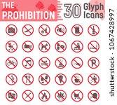prohibition glyph icon set ... | Shutterstock .eps vector #1067428997