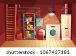 vector cellar interior  laundry ... | Shutterstock .eps vector #1067437181