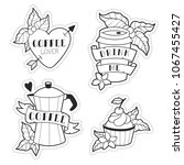 cute lineart coffee icons... | Shutterstock .eps vector #1067455427