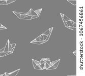 origami   seamless pattern with ... | Shutterstock .eps vector #1067456861
