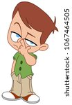 kid picking his nose | Shutterstock .eps vector #1067464505