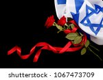Israeli Flag And Red Flowers...