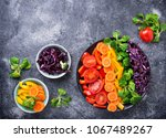 fresh healthy vegetarian... | Shutterstock . vector #1067489267
