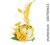 juice milk yogurt apple and... | Shutterstock .eps vector #1067505611