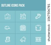 cloth icon set and lace with...