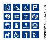 blue square set of disability... | Shutterstock .eps vector #1067512607