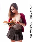 One sexy school girl reading a book - stock photo