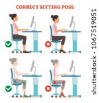 correct sitting pose in work... | Shutterstock .eps vector #1067519051