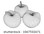apple wireframe low poly mesh... | Shutterstock .eps vector #1067532671