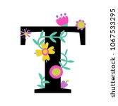 floral letter t. serif.... | Shutterstock .eps vector #1067533295