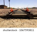 end of the line. ground view of ... | Shutterstock . vector #1067593811