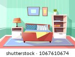 vector cartoon bedroom interior ... | Shutterstock .eps vector #1067610674