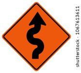 winding traffic road sign ... | Shutterstock .eps vector #1067613611
