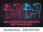 singer karaoke neon light... | Shutterstock .eps vector #1067647529