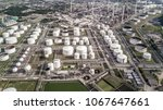 aerial view white fuel storage... | Shutterstock . vector #1067647661