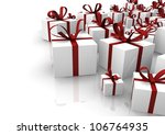 render of a group of isolated gifts - stock photo