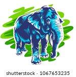 blue elephant standing on... | Shutterstock .eps vector #1067653235