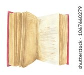 hand drawn watercolor open book ... | Shutterstock . vector #1067660279