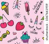 ice cream  strawberry  cherry ...   Shutterstock .eps vector #1067661959