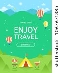 camping illustration with... | Shutterstock .eps vector #1067671385