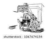 on the building site   Shutterstock .eps vector #1067674154