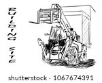 on the building site   Shutterstock .eps vector #1067674391