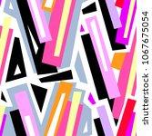 seamless urban funky geometric ... | Shutterstock .eps vector #1067675054