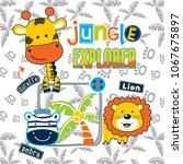jungle explorer funny animal... | Shutterstock .eps vector #1067675897