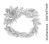 black and white rose and leaves ...   Shutterstock . vector #1067697449