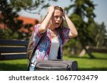 young woman is going on...   Shutterstock . vector #1067703479
