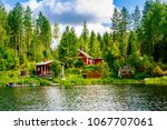 a traditional finnish wooden... | Shutterstock . vector #1067707061
