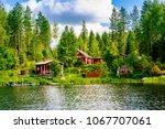 a traditional finnish wooden... | Shutterstock . vector #1067707061